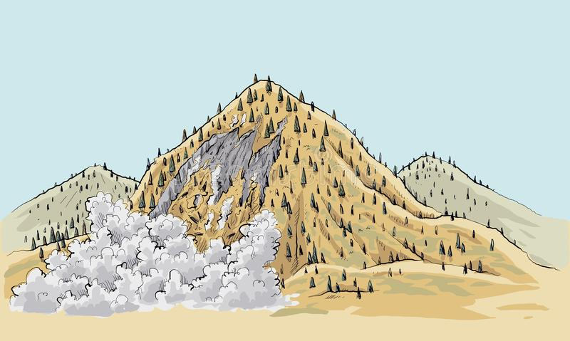 Remote Wilderness Landslide. A cartoon landslide on a small mountain in the remote wilderness stock illustration