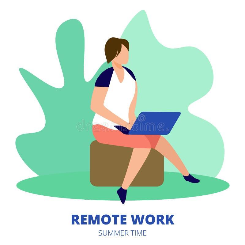 Remote Work Banner. Man Freelancer Sitting Outdoor royalty free illustration