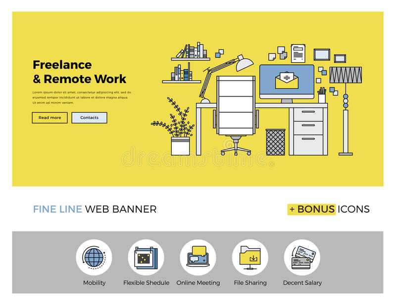 Remote work flat line banner. Flat line design of web banner template with outline icons of business freelance and outsource working service, remote co-working vector illustration