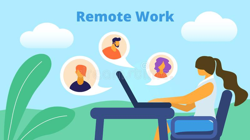 Remote Work Horizontal Banner. Girl Freelancer royalty free illustration