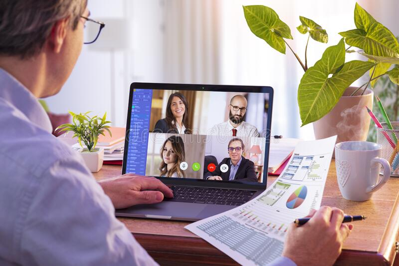 Remote Work - Video Conference Concept. Working At Home royalty free stock photos