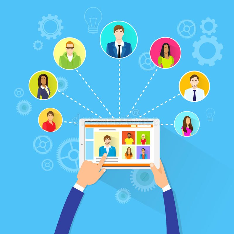 Remote Working Concept Internet Tablet Computer. Manager Collaborate Business People Group Outsourcing Team Flat Vector Illustration royalty free illustration