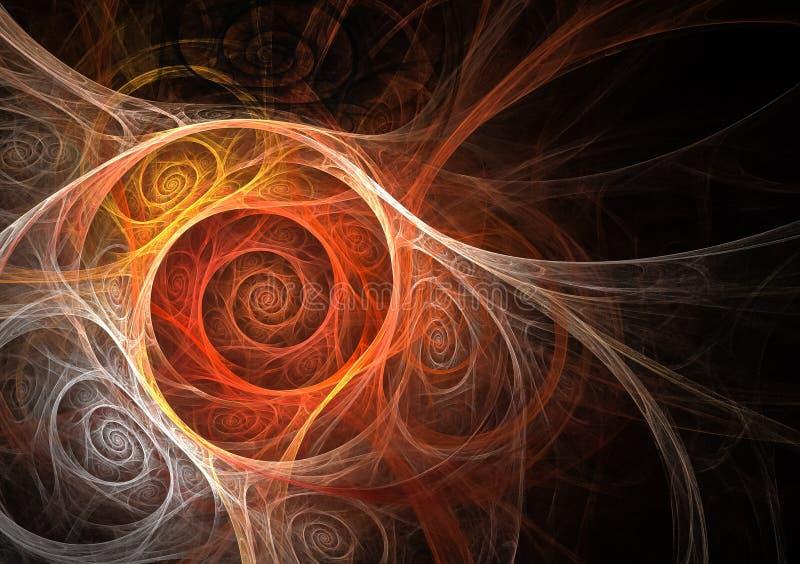 Remous abstraits rouges et blancs de fractale illustration de vecteur