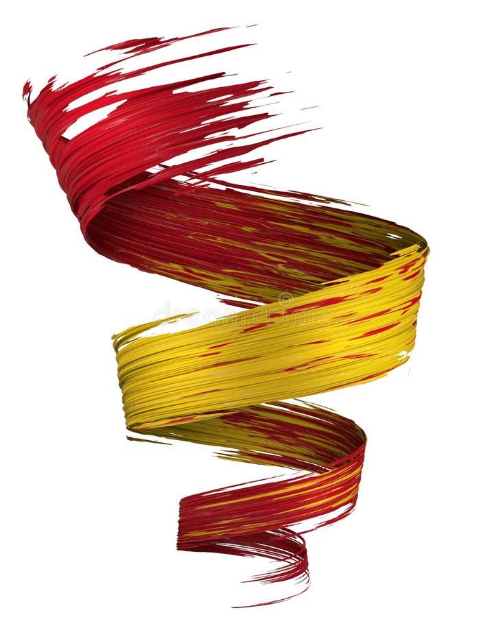 Remous coloré de course de peinture de la brosse 3D dans des couleurs de drapeau de l'Espagne illustration libre de droits
