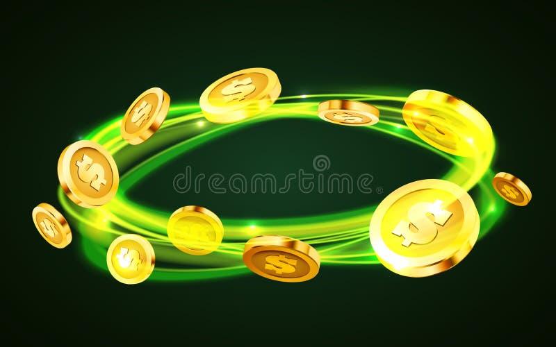 Remous de pièce de monnaie Pi?ces de monnaie en baisse, argent en baisse, pi?ces d'or volantes, pluie d'or Concept de gros lot ou illustration de vecteur