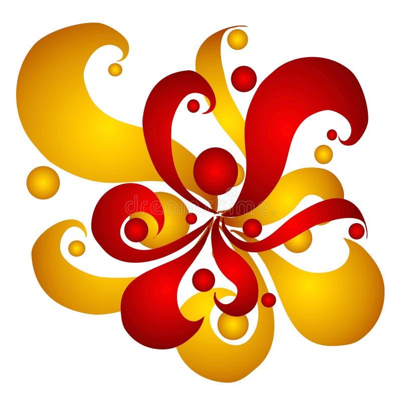 Remous et cercles de rouge d'or illustration de vecteur