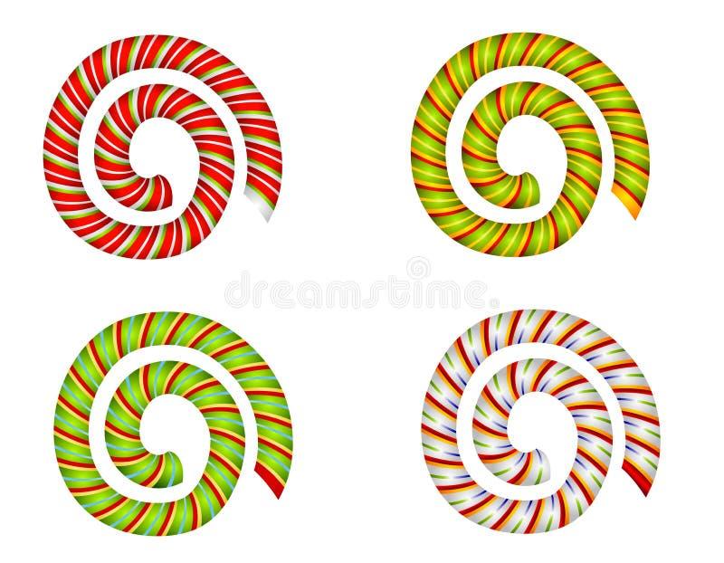 Remous et spirales de canne de sucrerie illustration stock