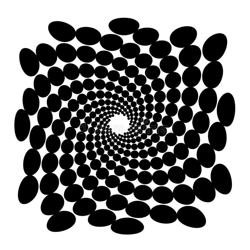 Remous, fond de vortex Spirale tournante Entourez, ovale, point, ellipse, technique, la géométrie, géométrique illustration libre de droits