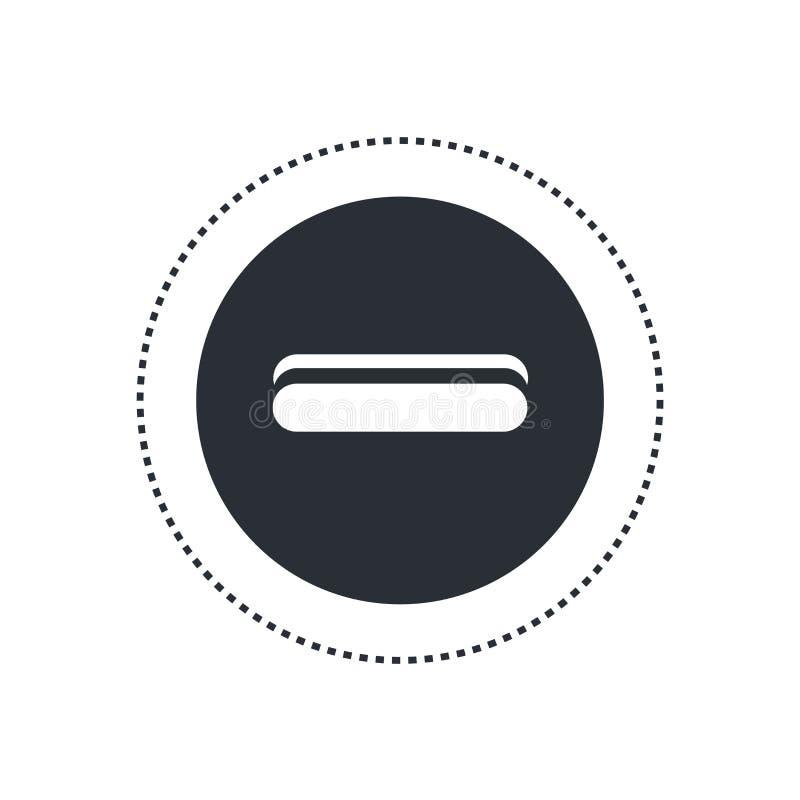 Remova o sinal redondo do vetor do ícone do botão e o símbolo isolado no fundo branco, remove o conceito redondo do logotipo do b ilustração stock