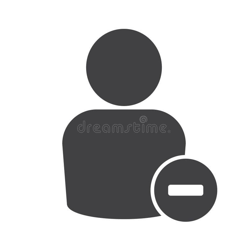 Remova um usuário, remova um ícone do vetor da pessoa ilustração stock