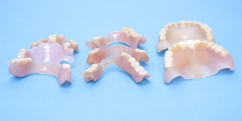 Removable dentures flexible, devoid of nylon, hypoallergenic exempt from monomer. Removable dentures flexible, devoid of nylon, hypoallergenic exempt from stock photo