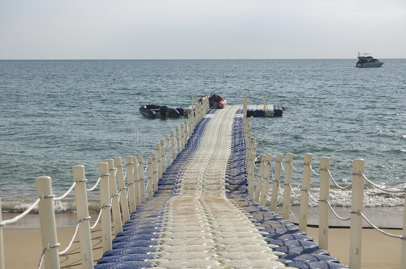 Removable jetty for small ships stock images