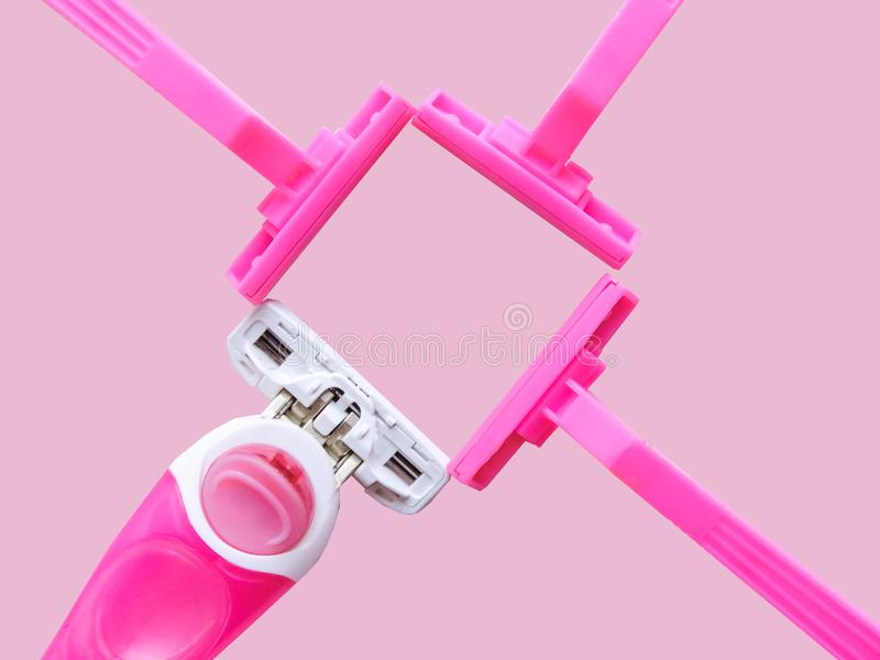 Removal of unwanted hair. top view. Concept of using razor. Shaving razor instrument. Skin care concept. Epilation hair removal. Flat lay, top view.multi stock photos