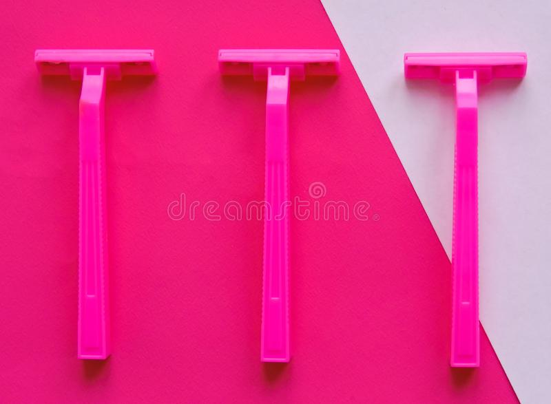 Removal of unwanted hair. top view. Concept of using razor. Shaving razor instrument. Skin care concept. Epilation hair removal. Flat lay, top view.multi royalty free stock photo