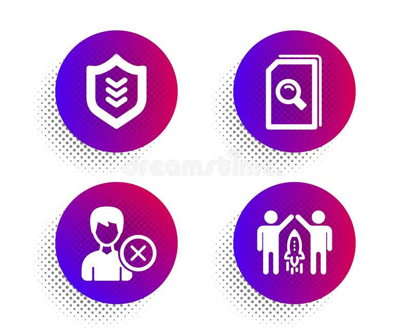 Remove account, Search files and Shield icons set. Partnership sign. Vector vector illustration