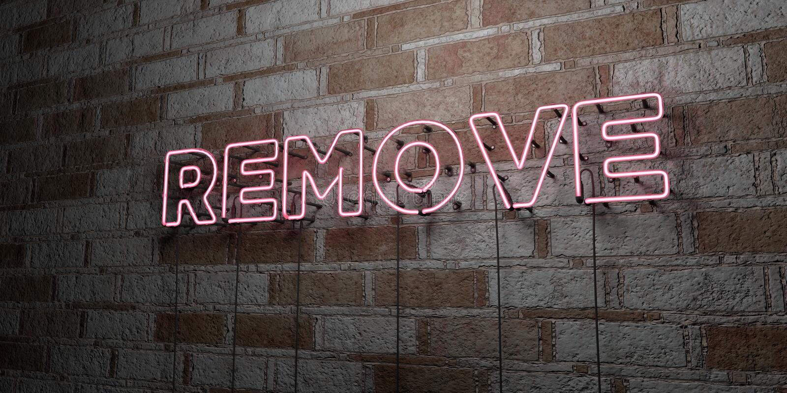 REMOVE - Glowing Neon Sign on stonework wall - 3D rendered royalty free stock illustration. Can be used for online banner ads and direct mailers royalty free illustration