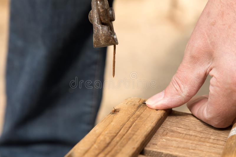 Remove a nail with a pair of pliers stock photos