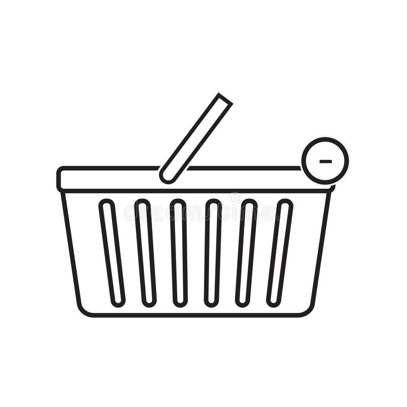 Remove from shopping basket icon vector illustration. Free Royal. A cart supplied by a shop, especially supermarkets, for use by customers inside the shop for royalty free illustration