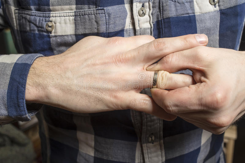 Remove Wedding Ring From His Finger Stock Photo Image of person
