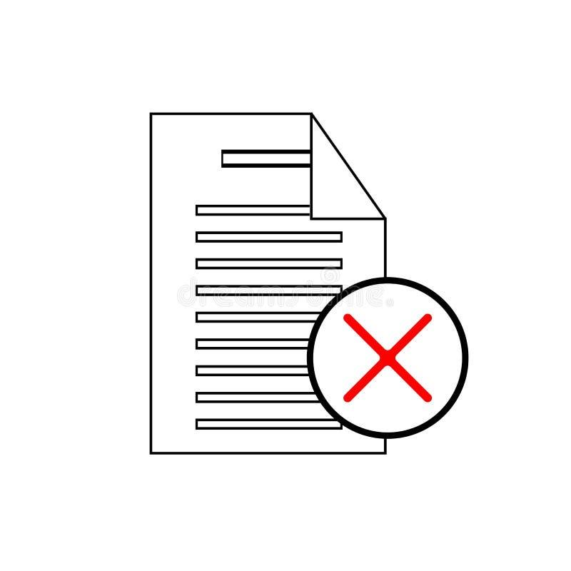 Removendo o ícone de documento - o papel e a supressão assinam no círculo Projeto de papel Símbolo próximo ilustração do vetor