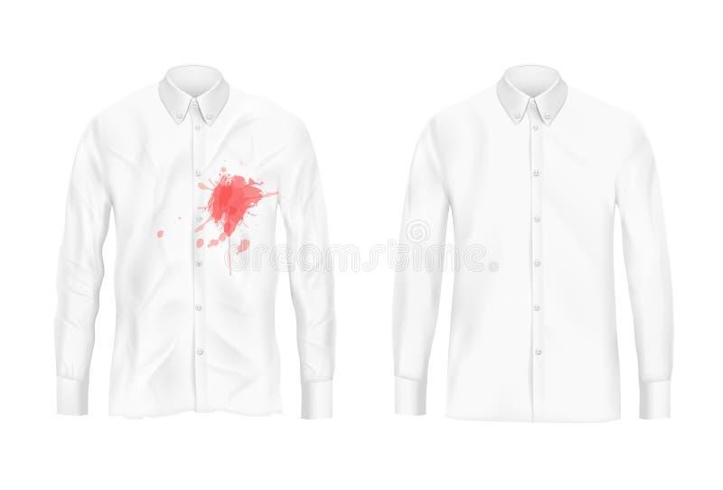 Remover λεκέδων πουκάμισων διανυσματική έννοια πειράματος διανυσματική απεικόνιση