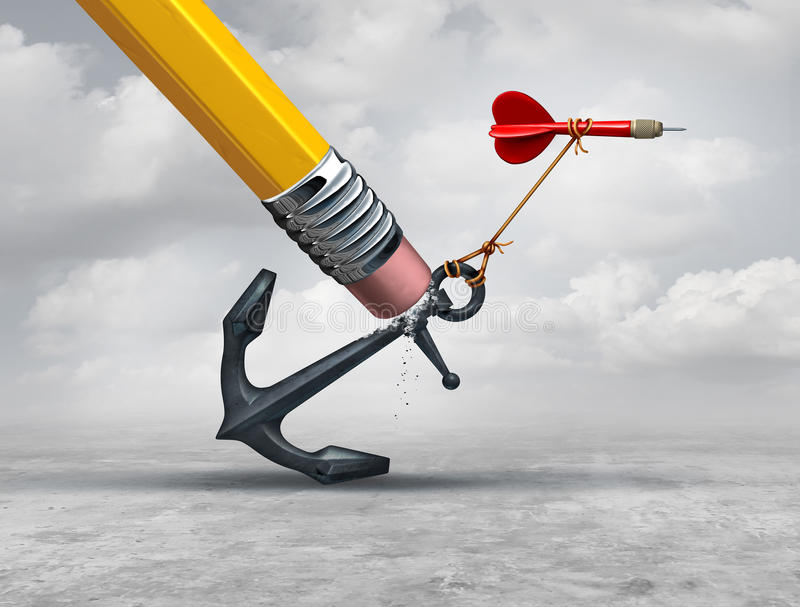 Removing Restrictions. And eliminating obstacles to achieving goals as a pencil erasing a heavy restrictive anchor holding down a flying dart as a business vector illustration