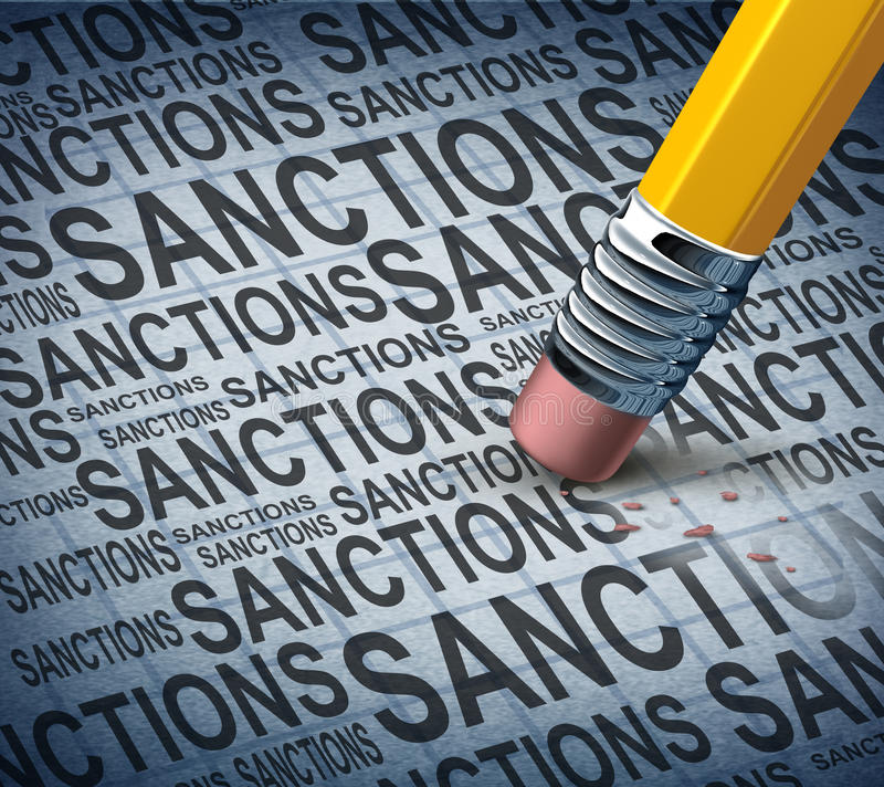 Removing Sanctions. Lifting economic pressure as a global economy symbol for solutions to trade disputes as a pencil eraser erasing words as a metaphor for stock illustration