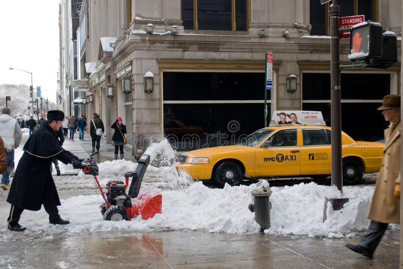 Download Removing Snow After The Storm In New York City Editorial Stock Image - Image: 18045839