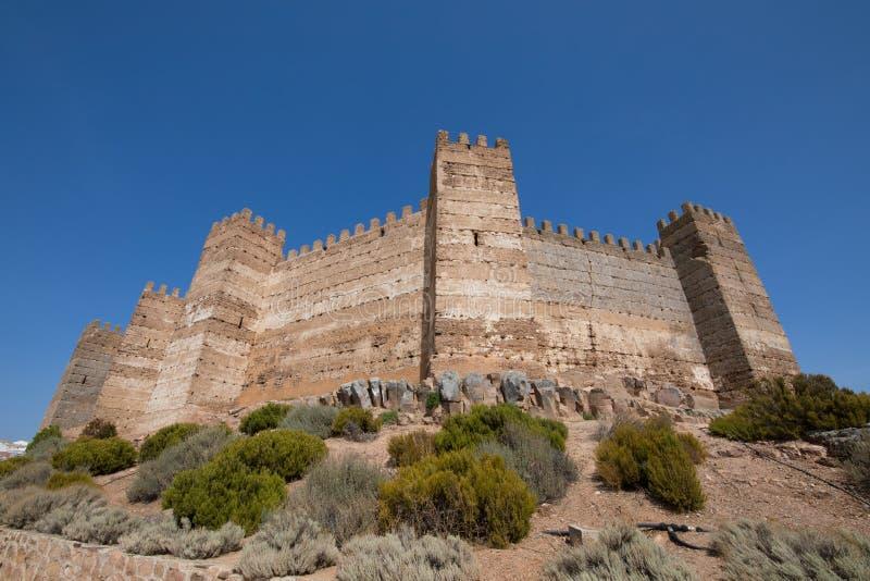Rempart de château de Burgalimar en La Encina de Banos De photos libres de droits