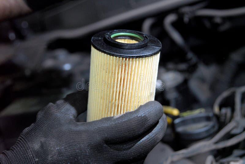 Remplacement de filtre à huile photo libre de droits