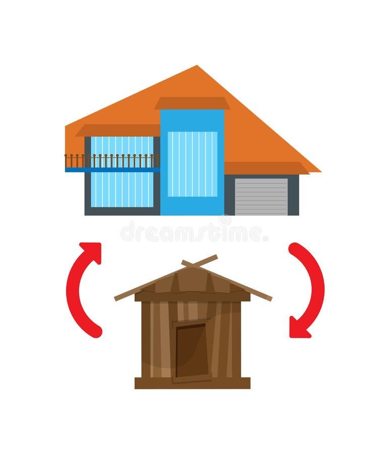 Remplacement de la vieille maison avec un neuf illustration de vecteur