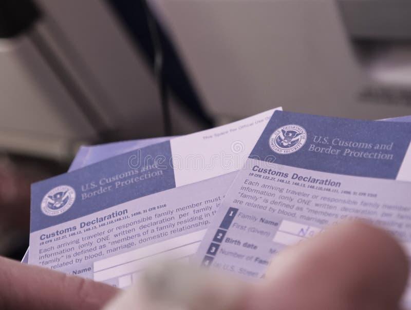 Remplir vers le haut d'U S Formulaire de déclaration en douane photos libres de droits
