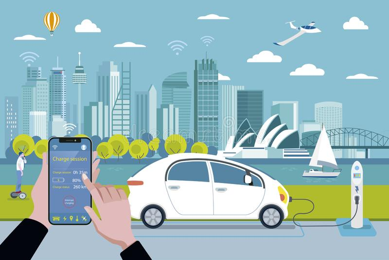 Remplissage d'une voiture électrique d'un téléphone intelligent illustration libre de droits