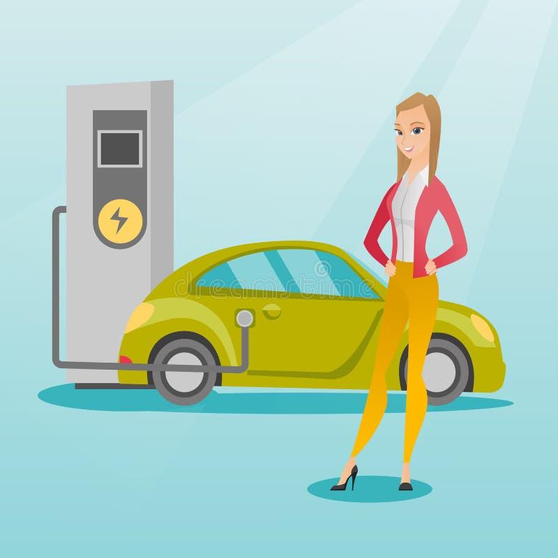 Remplissage de l'illustration de vecteur de voiture électrique illustration stock