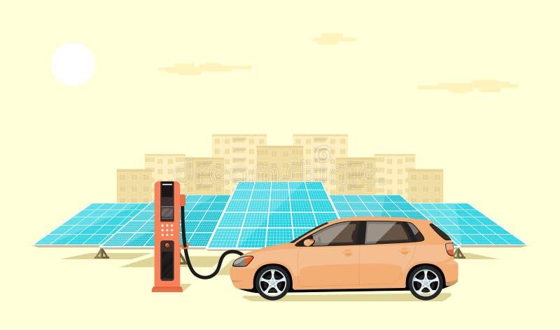 Remplissage de véhicule électrique illustration stock