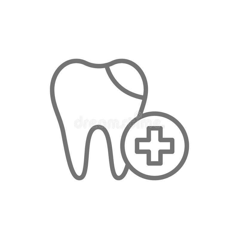 Remplissage dentaire de vecteur, ligne traitée icône de dent illustration de vecteur