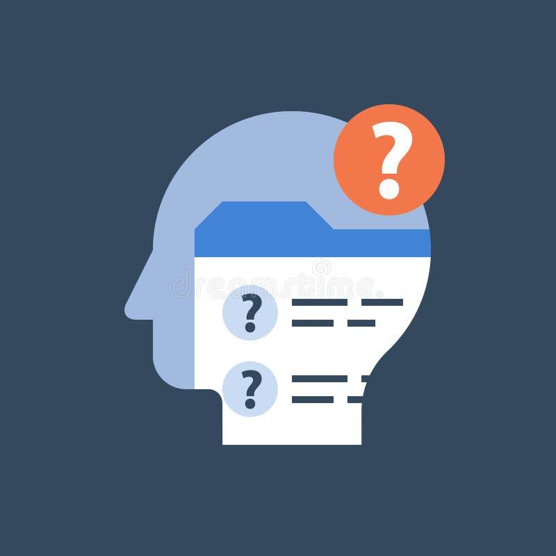 Remplissez la liste de contrôle, forme en ligne d'examen, questionnaire d'examen, concept de tâche, résultat d'essai, données per illustration stock