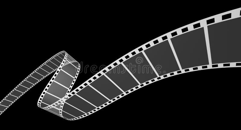 remsa för film 3d på svart vektor illustrationer