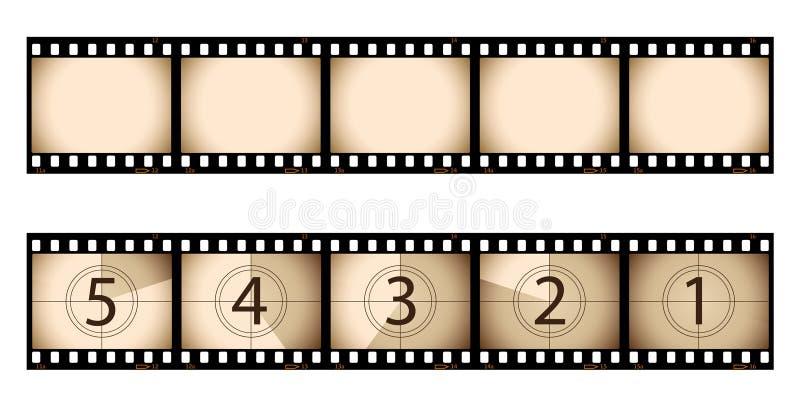remsa för nedräkningfilmsepia royaltyfri illustrationer