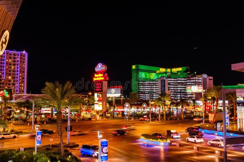 Remsan i i stadens centrum Las Vegas på natten fotografering för bildbyråer