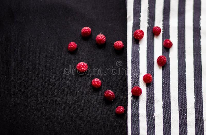 Remsor och hallon på texturen av tyget arkivfoton