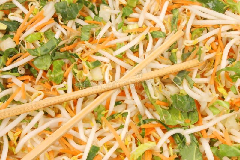 Remuez les légumes de friture et les bâtons de côtelette photographie stock libre de droits