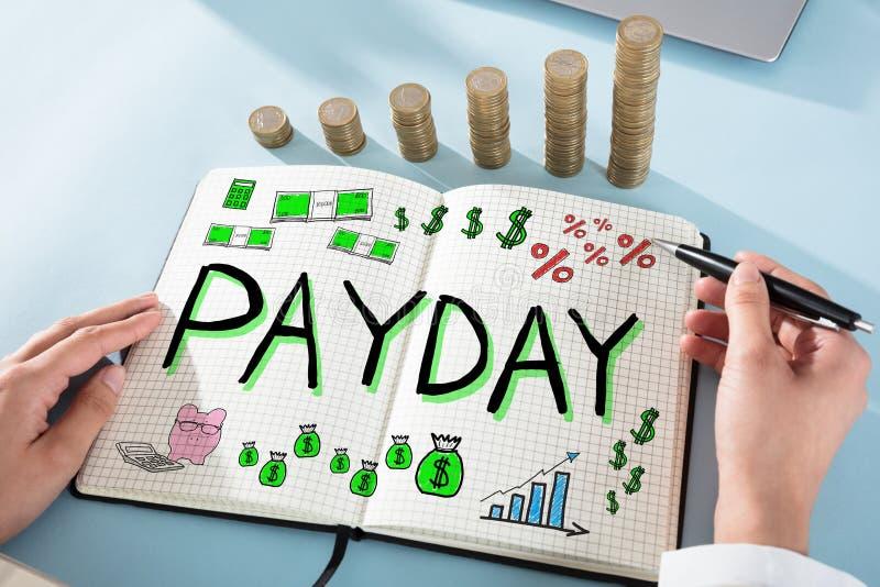 Remuneración a los trabajadores del día de paga imagen de archivo