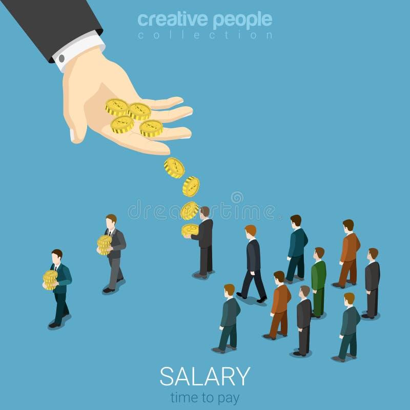 Remunere o vetor liso 3d isométrico dos homens de negócios do dinheiro do negócio do salário ilustração royalty free