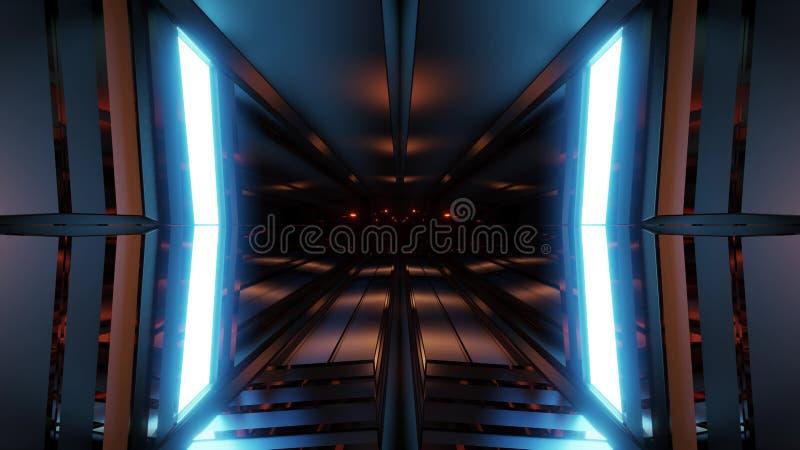 Ren bakgrund för stiltunnelkorridor med den blåa tolkningen för glödbakgrund 3d royaltyfri illustrationer