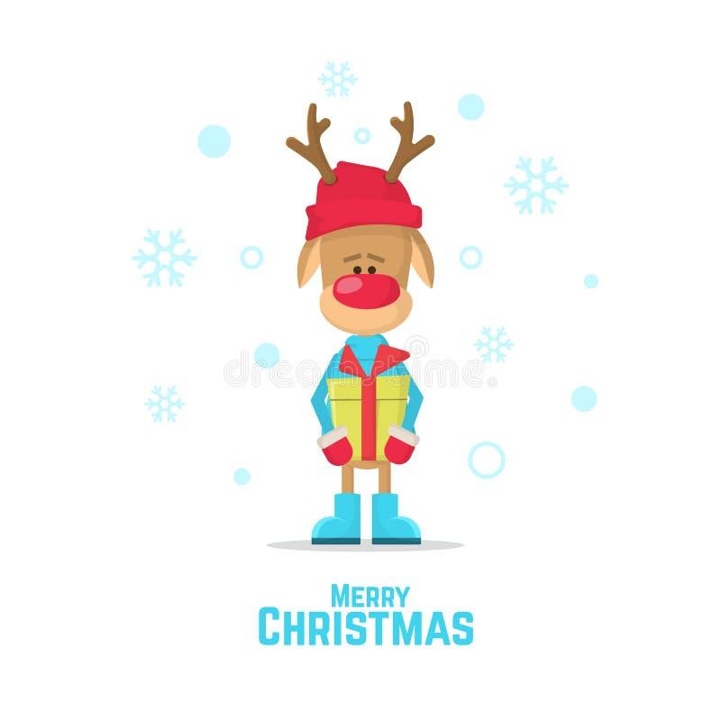 Ren, das ein Neujahrsgeschenk hält Ren mit roter Wekzeugspritze Vector Illustration eines Karikaturrens auf weißem Hintergrund lizenzfreie abbildung