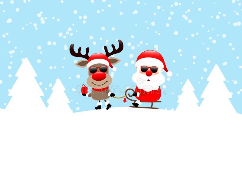 Ren, das Pferdeschlitten mit Santa Sunglasses Snow And Forest-Blau zieht vektor abbildung