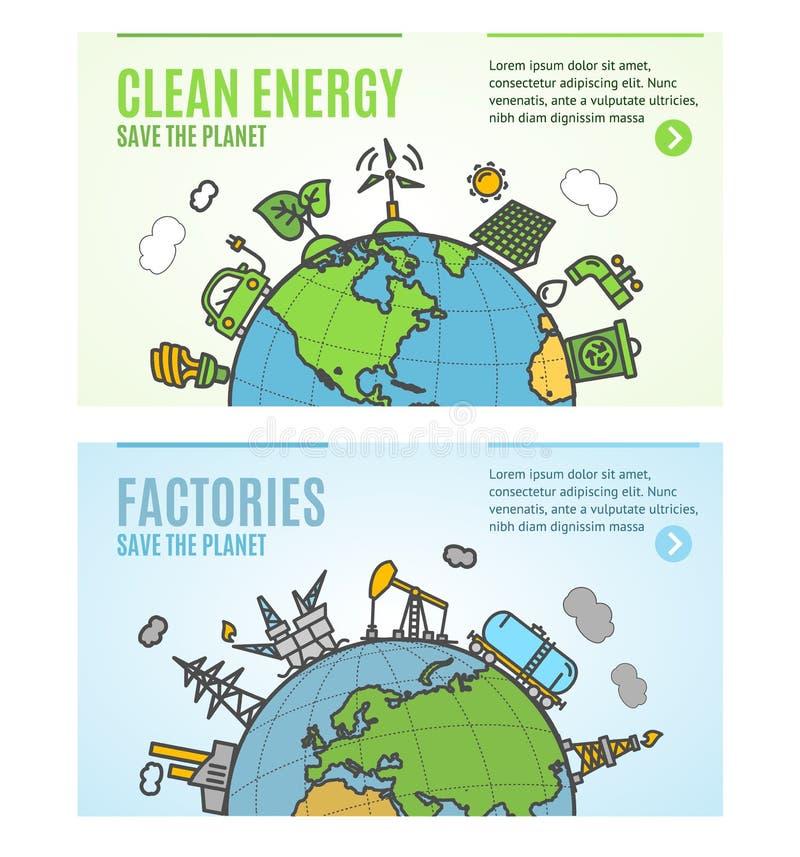 Ren energi för ekologireklamblad och uppsättning för kort för fabriksbaneraffischer vektor vektor illustrationer