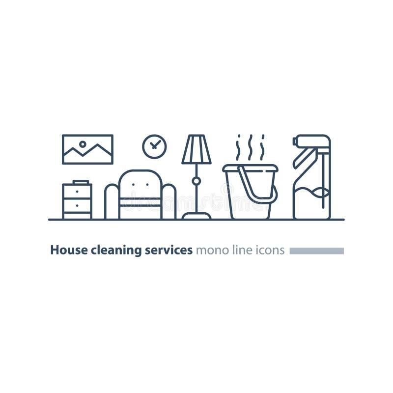 Ren husunderhållsservice, förnyar den inre linjen symboler royaltyfri illustrationer