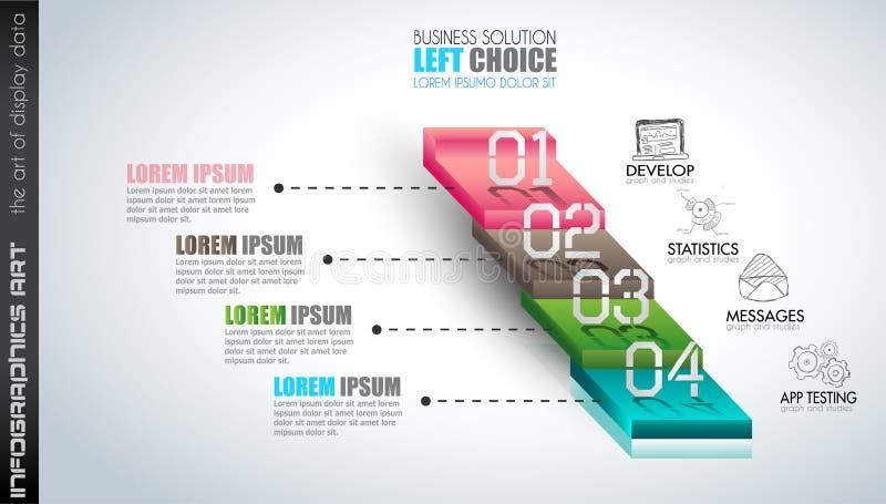 Ren Infographic orienteringsmall för data- och informationsanalys stock illustrationer